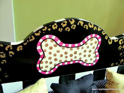 polka dot dog bone hand painted on wood