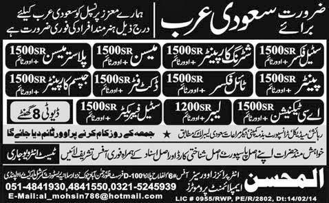 FIND JOBS IN PAKISTAN STEEEL FIXER  MASON JOBS IN PAKISTAN LATEST JOBS IN PAKISTAN