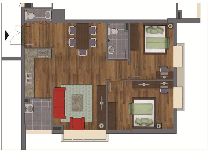 Chi tiết căn hộ B chung cư Green House