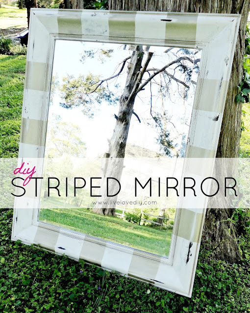 DIY Gold & White Striped Mirror | LiveLoveDIY