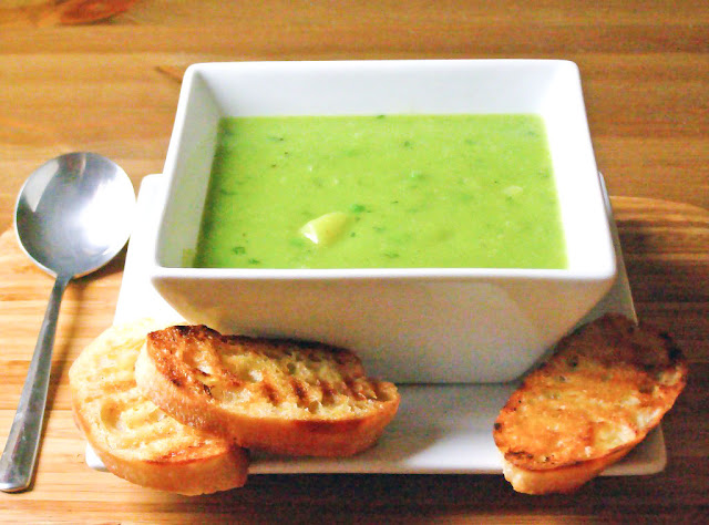 Minted Petite Pois and Potato Soup with Butter Grilled Ciabatta