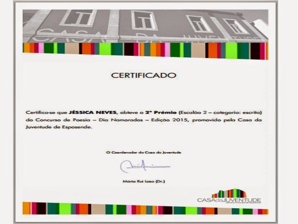 2º LUGAR NO CONCURSO DE POESIA DA CASA DA JUVENTUDE DE ESPOSENDE (FEVEREIRO 2015)