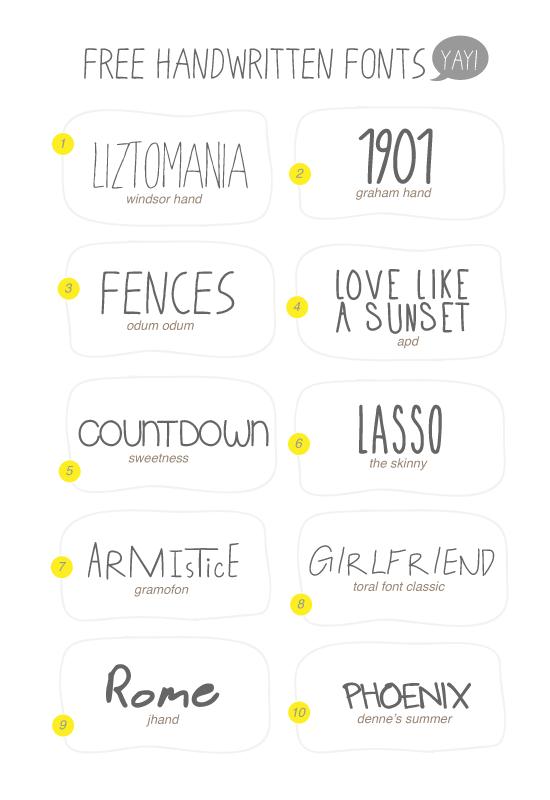 Hello 10 Free Handwritten Fonts