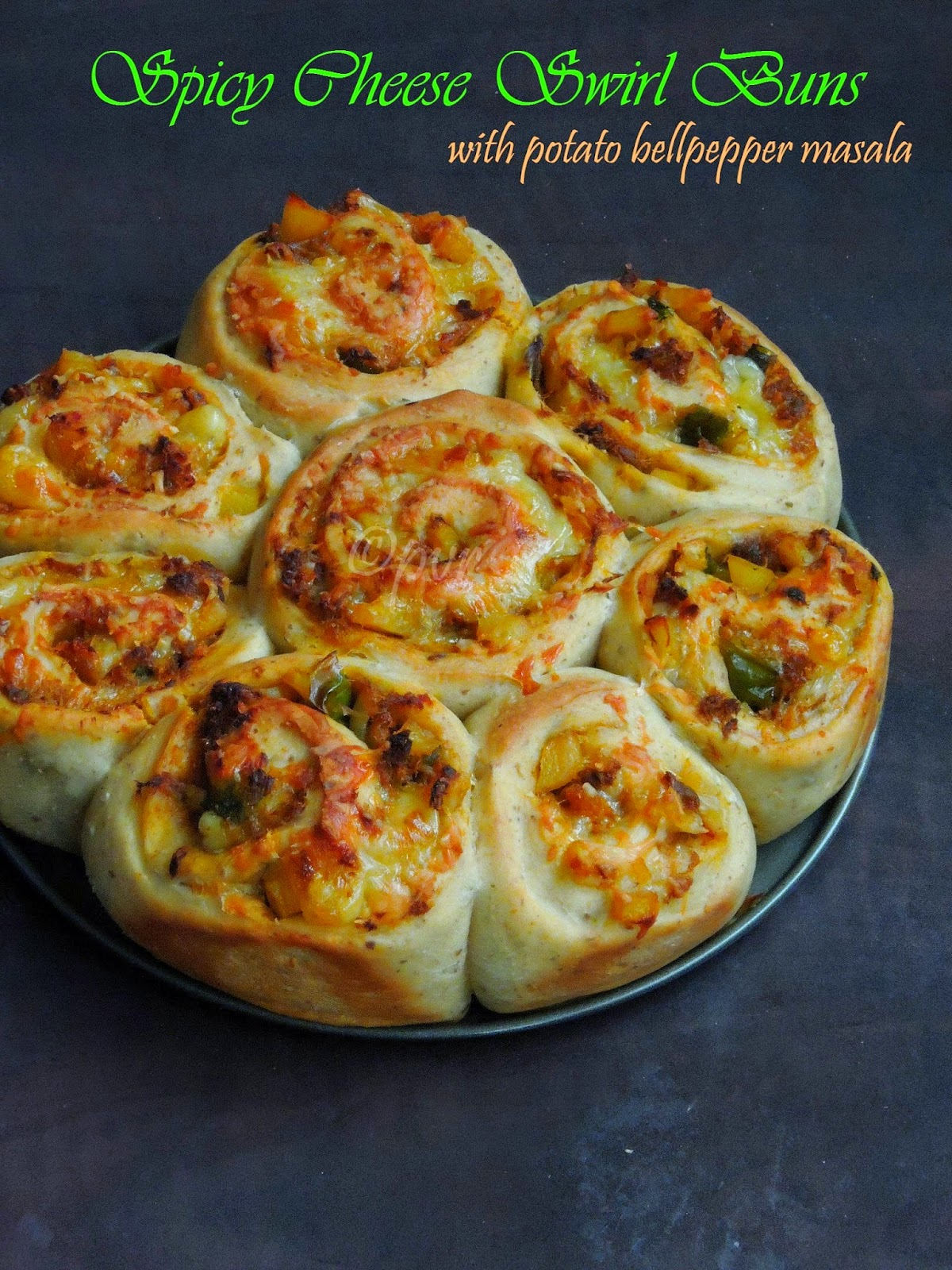 Stuffed Cheese & Vegetable Swirl buns