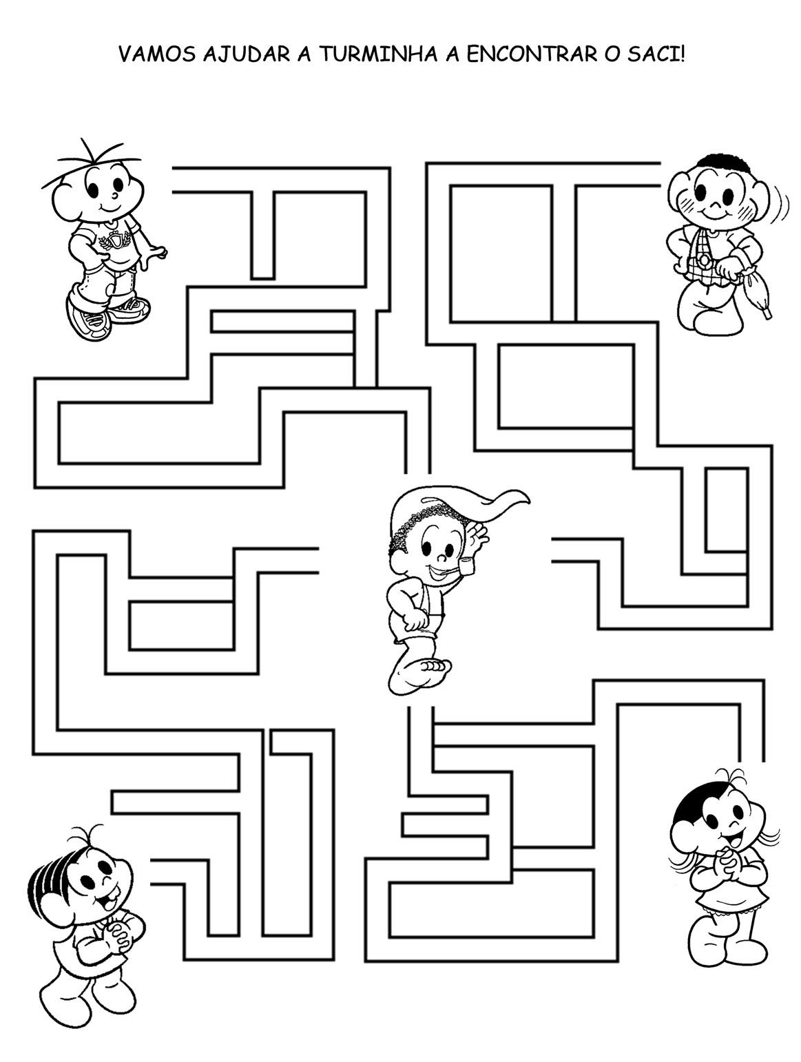 a desenhar labirintos da turma da monica e outros colorir