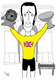caricature of Bradley Wiggins by Ian Davy Brown