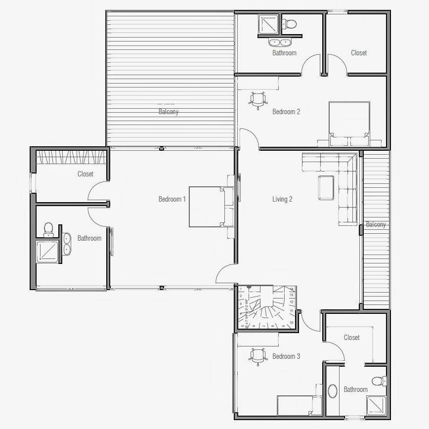 Plantas de casas modernas planta de casa moderna ch193 for Plantas de viviendas modernas