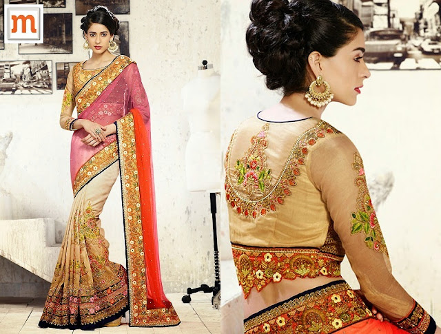 Resham Work Cream & Orange Net Designer Wedding Wear Saree  At Moksha Fashions