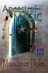 Cover of Ancestral Magic shows a stone wall with a wooden door slightly ajar. On the door is a circled star; above it, a staff with feathers tied to one end.