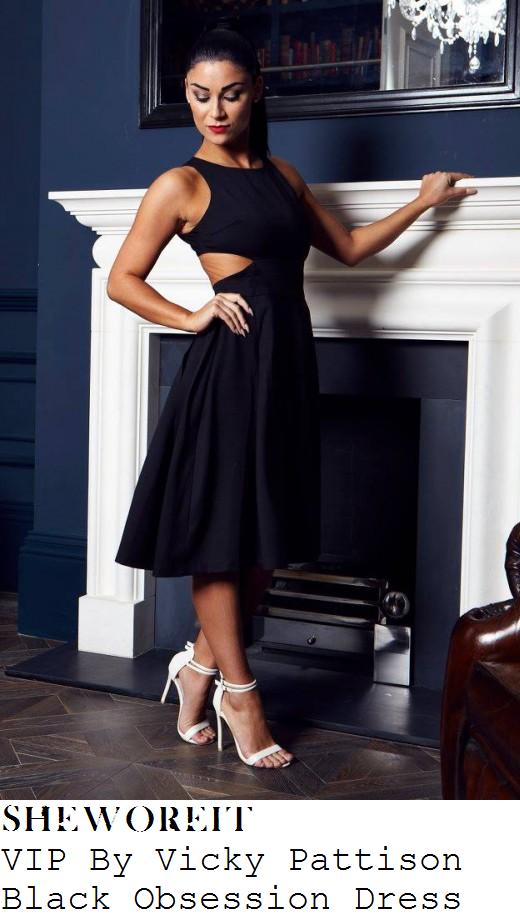 vicky-pattison-black-cut-out-detail-sleeveless-dress-sunday-brunch