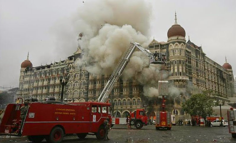 Fire Engines fighting out the fire in Taj Mahal Palace Hotel