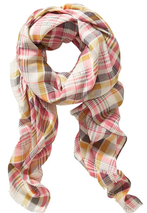 Fall Fashion - pink and yellow plaid scarf, only $12!