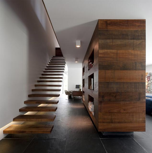 Escalera flotante de madera escaleras bonitas y todo - Escalera de madera ...