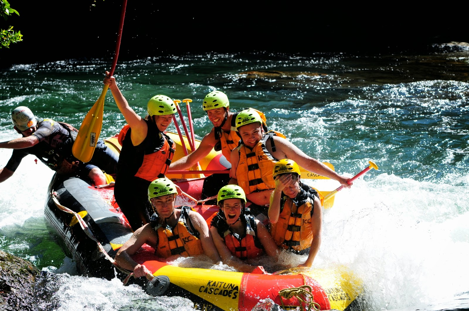 My fellow rafting crew on the Kaituna River, Rotorua, New Zealand