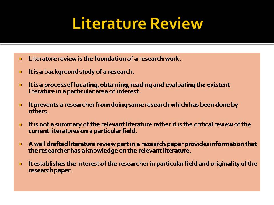 literature review as part of a research paper Thesis literature review the first part of any scientific thesis, dissertation how to write a literature review for a research paper thesis 1.