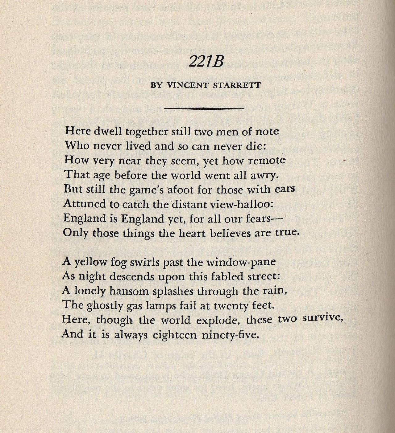 "Vincent Starrett's classic ""221B"" poem"
