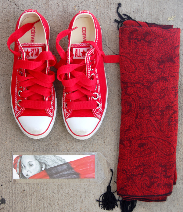 red converse, red pattern scarf, red girl 1 bookmark from The True Colors Collection by Noami Foster