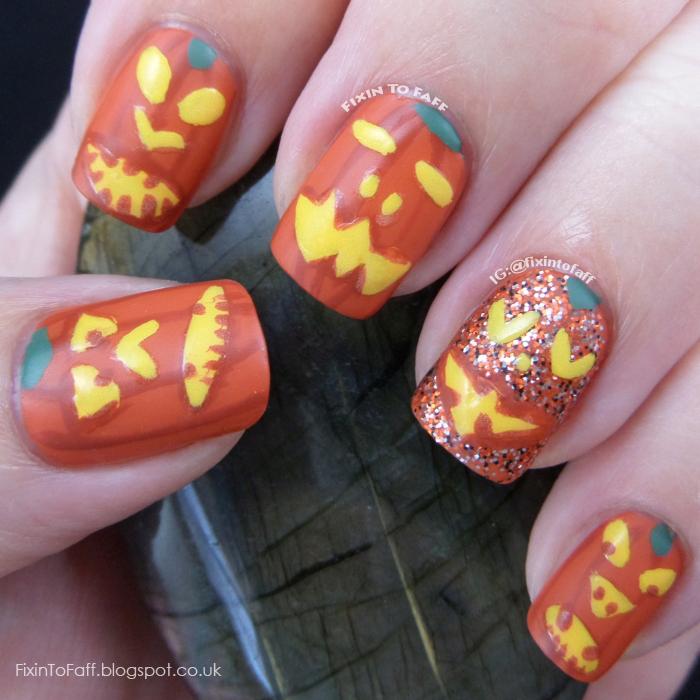 Pumpkin Face Jack-O'-Lantern nail art.