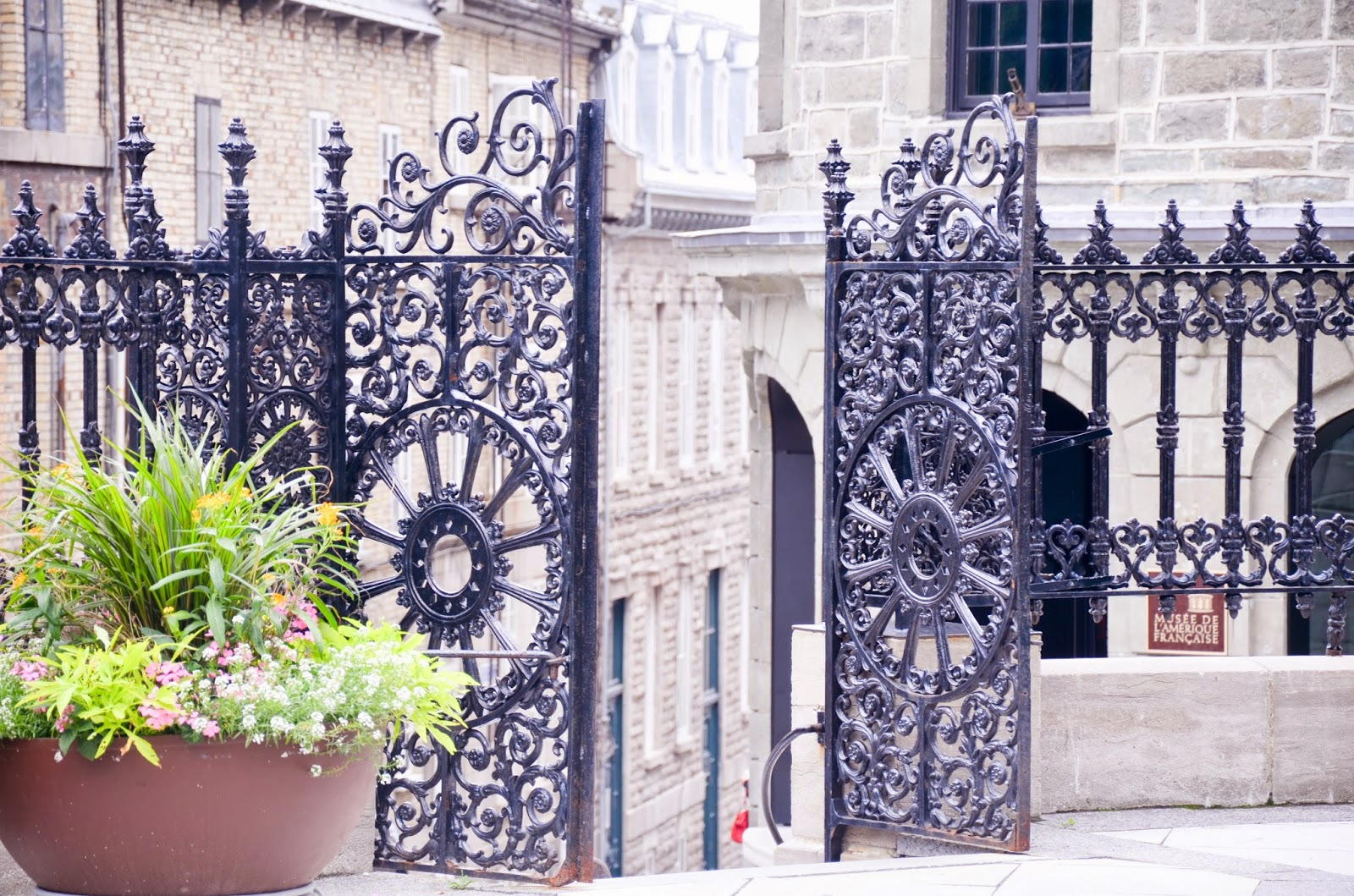 black iron gate of Notre-dame Quebec, travel quebec, canada
