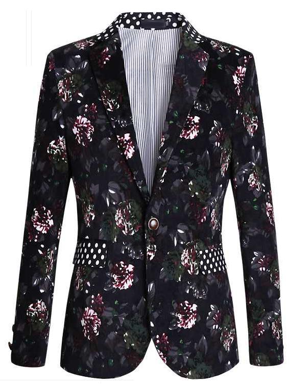 polka dot collar floral blazer