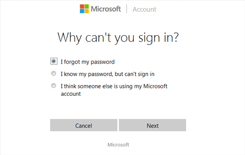 reason for change Windows 10 Microsoft account password
