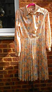 vintage elbise cicekli somon polyester