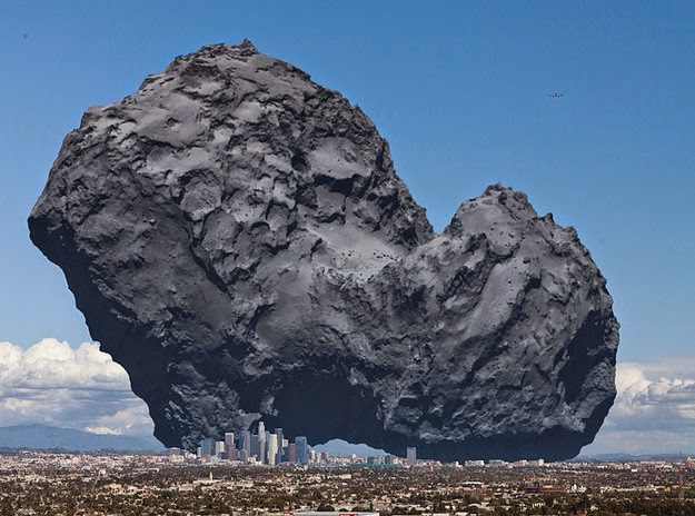26 Pictures Will Make You Re-Evaluate Your Entire Existence - THIS RIGHT HERE IS A COMET. WE JUST LANDED A PROBE ON ONE OF THOSE BAD BOYS. HERE'S WHAT ONE LOOKS LIKE COMPARED WITH LOS ANGELES