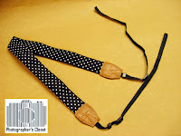 Black White Polkadot Camera Strap