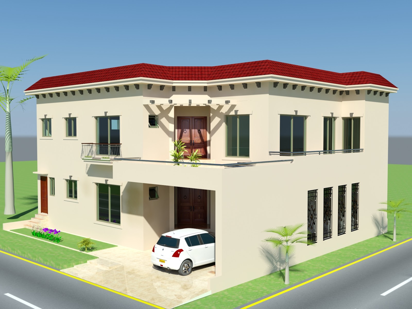 3d front 10 marla plan house design in for New home designs pictures in pakistan