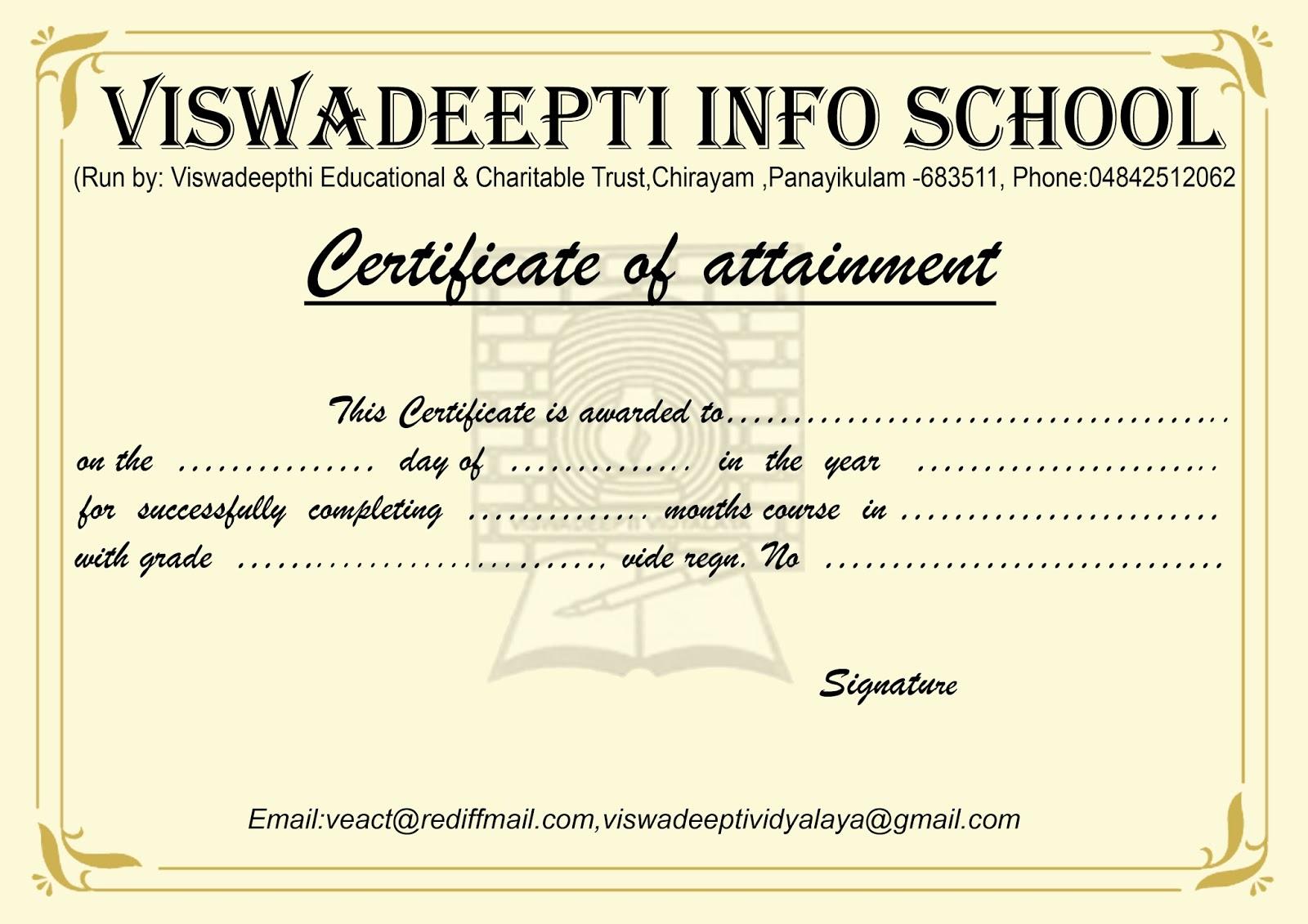 Vivek Graphics Computer Institute Certificate Template