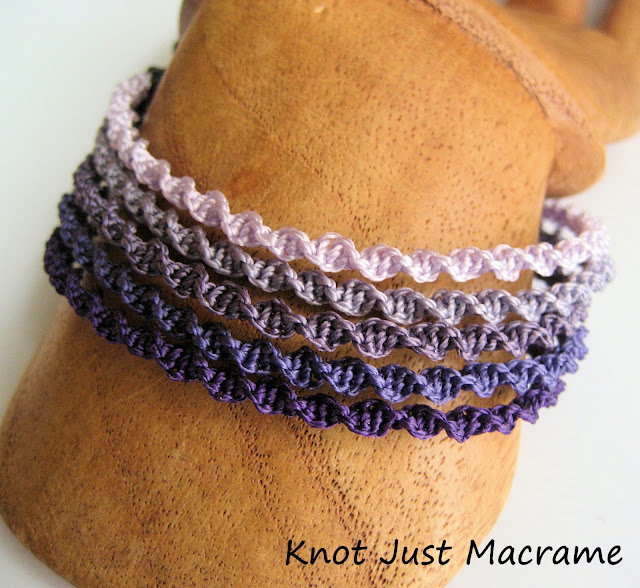 Purple ombre macrame cuff bracelet by Sherri Stokey of Knot Just Macrame