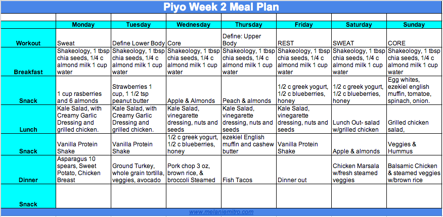 Piyo Meal Plan for Women