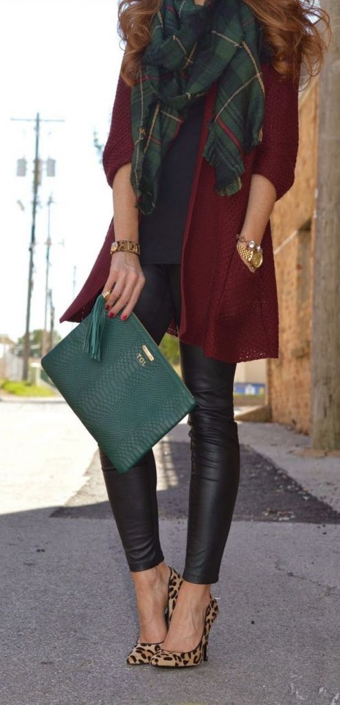 red cardigan + leather
