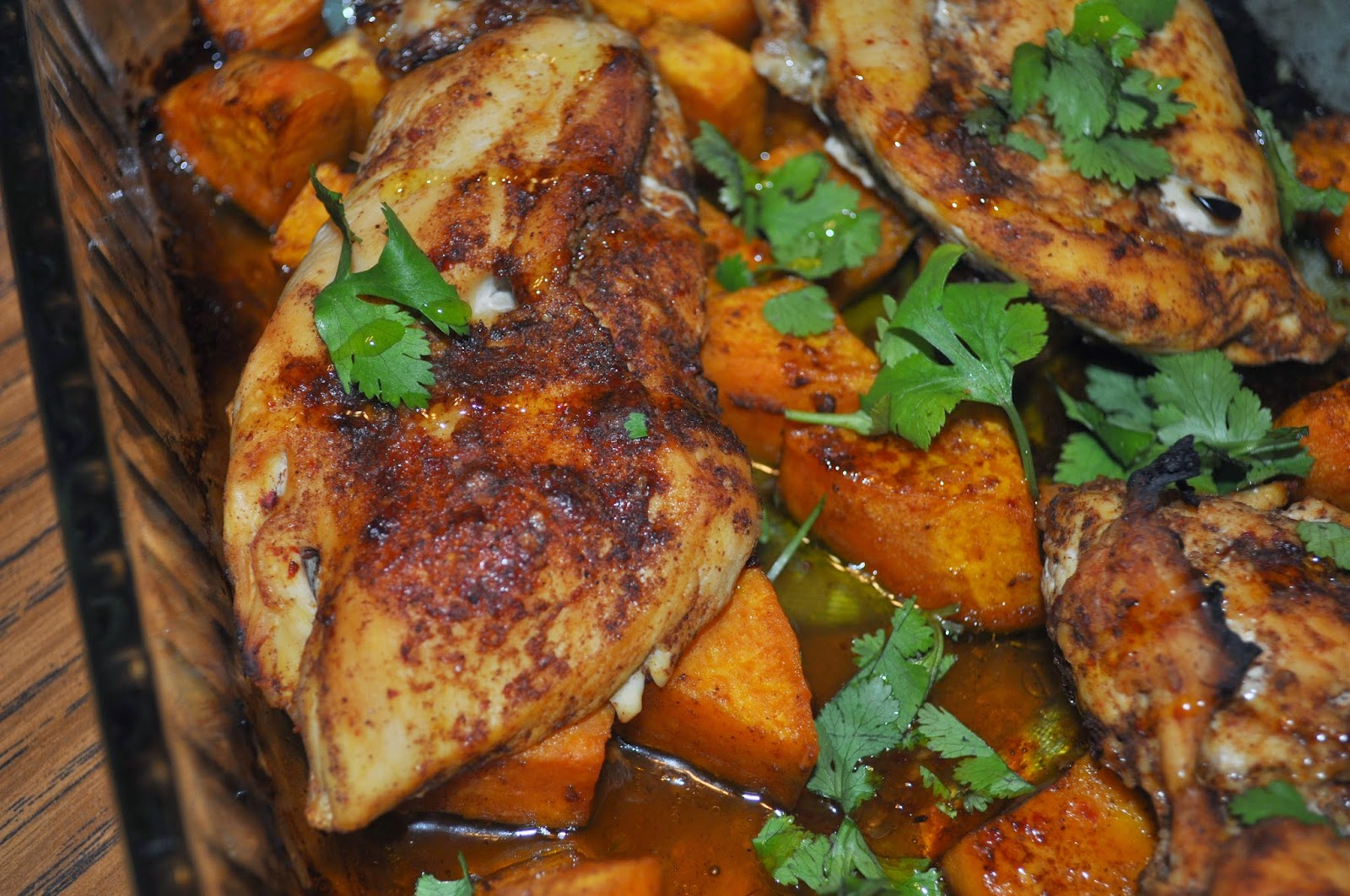 Spiced Chipotle Honey Chicken Breasts with Sweet Potatoes http://www ...