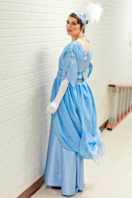 blue Embassy waltz dress sewed for My Fair Lady