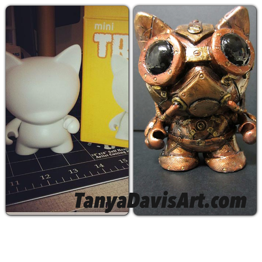 Trikky MunnyWorld vinyl figure before and after customization.