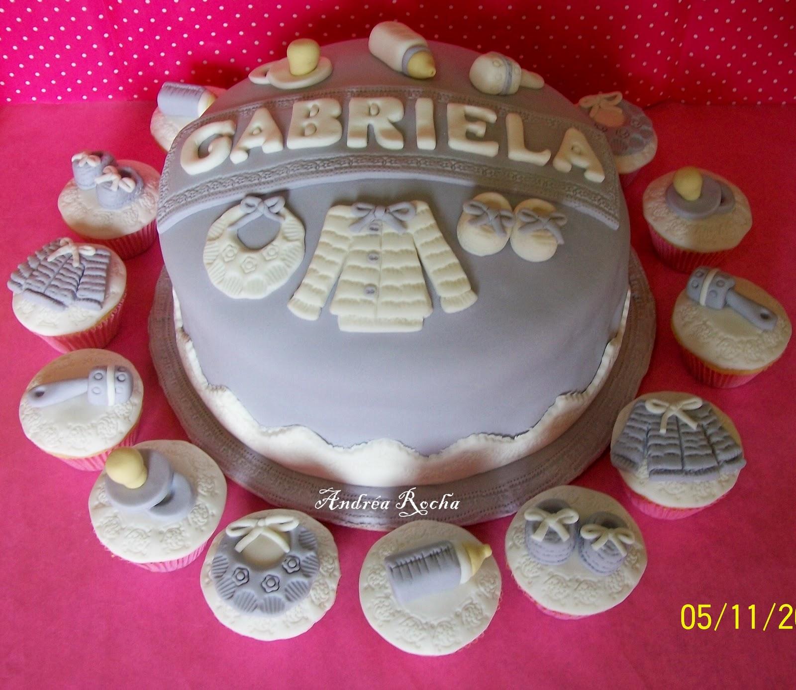 "Bolo e Cupcakes Chá de Fralda ""Lilas"""