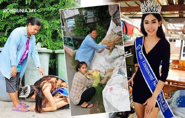 Kisah Miss Thailand anak pengutip sampah melutut depan ibu jadi viral