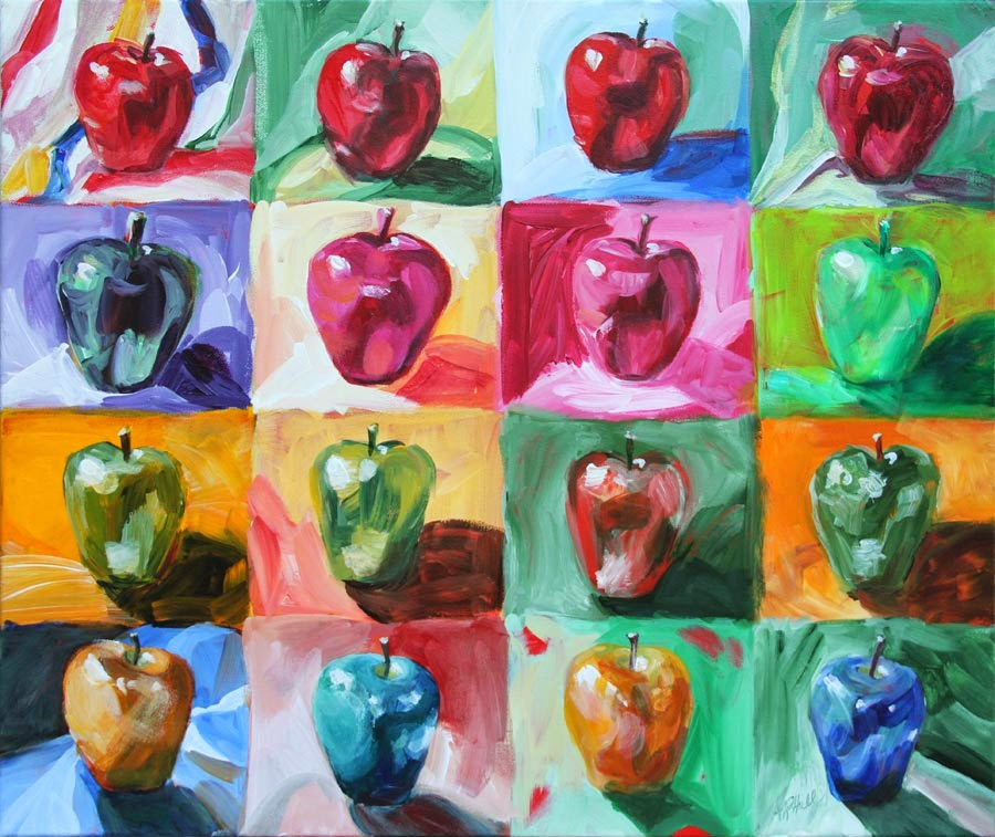 """An Apple a Day..."" ©Annette Ragone Hall. Acrylic on canvas, 20"" x 24"""