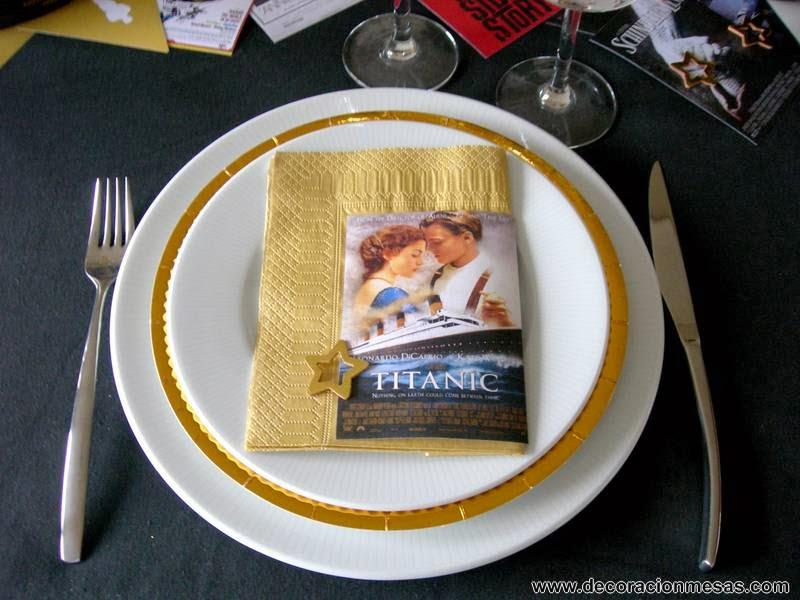 decoracion mesa cine servilletas Oscar
