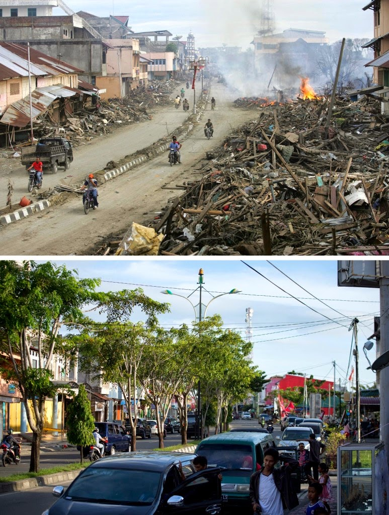 This combo shows a file photo (top) taken on Jan. 9, 2005 of a street cleared but with huge pile of debris on either side, in Meulaboh in Aceh province, located on Indonesia's Sumatra island where surrounding houses and buildings were heavily damaged and coastal villages wiped out in the aftermath of the massive Dec. 26, 2004 tsunami trigerred by an earthquake, and the same location photographed on Nov. 29, 2014 (bottom) with developed commercial and residential buildings. Indonesia will mark on Dec. 26, 2014 the 10th year anniversary of the deadly tsunami which killed more than 170,000 people in Aceh, and tens of thousands of others in other countries around the Indian Ocean. (AFP Photo/Philippe Desmazes (top) and Bay Ismoyo (bottom))