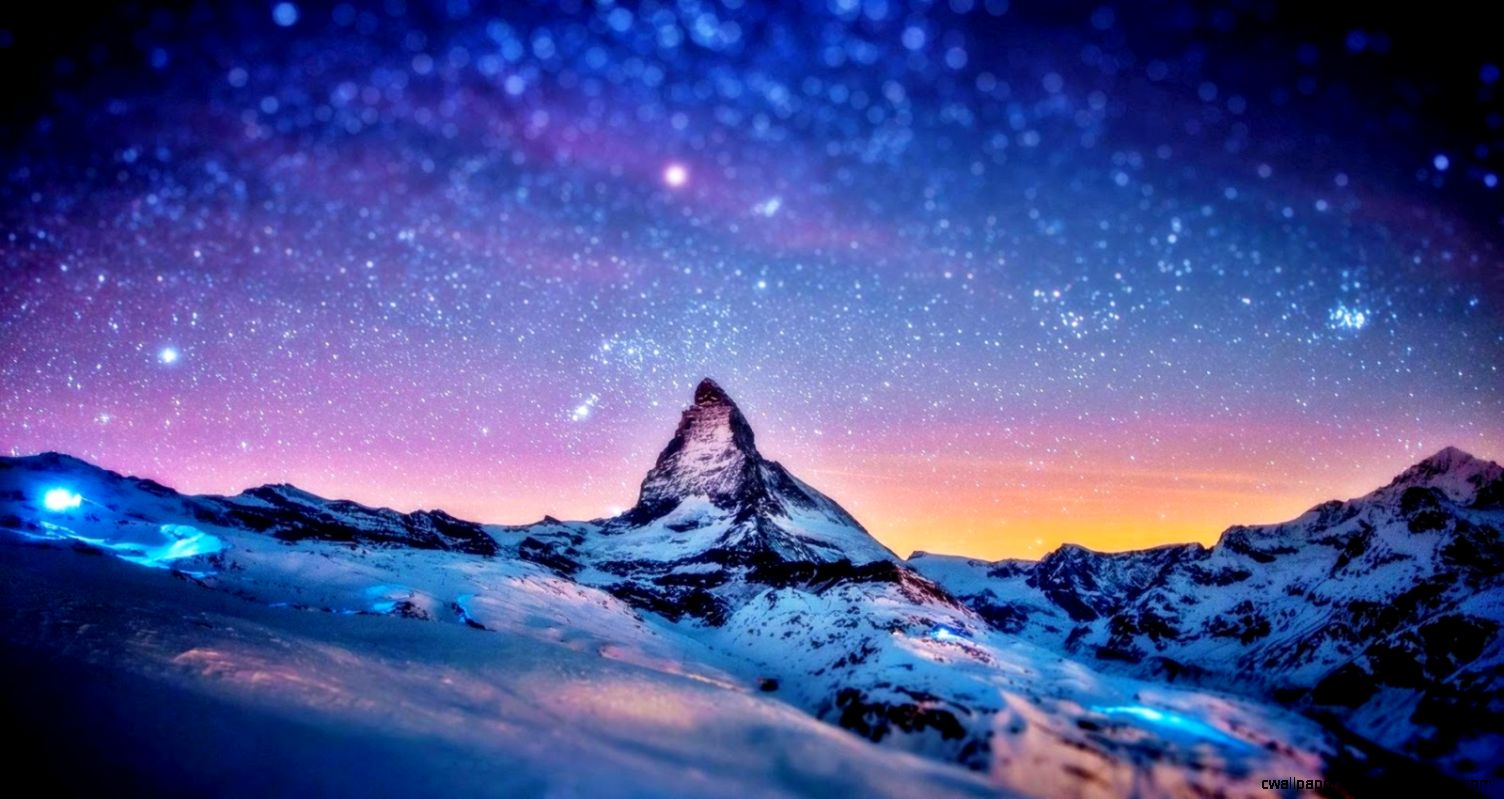 Snowy Mountains At Night   wallpaper