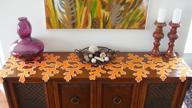 Orange Burlap Leaf Table Runner