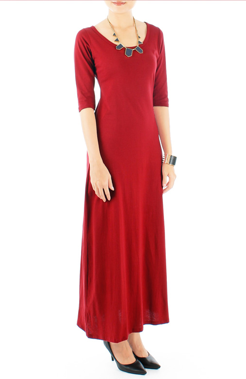 Cotton Maxi Dress with Half Sleeves in Crimson Red