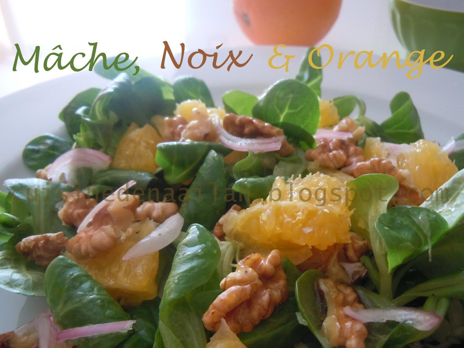 Les essais culinaires de naailah salade de m che noix et for Salade pour accompagner poisson