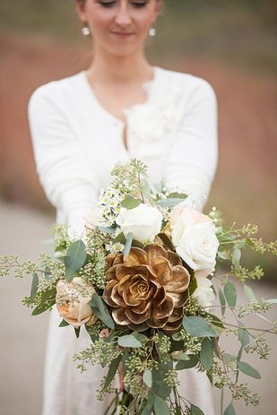 Fantasy wedding bouquet with golden flower