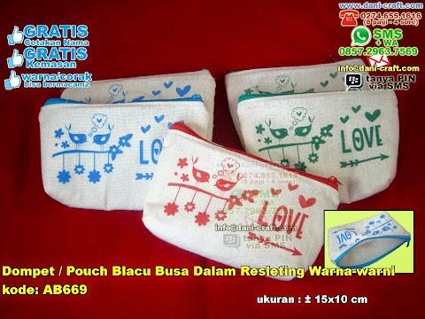 Dompet Pouch Blacu Busa Dalam Resleting Warna-warni