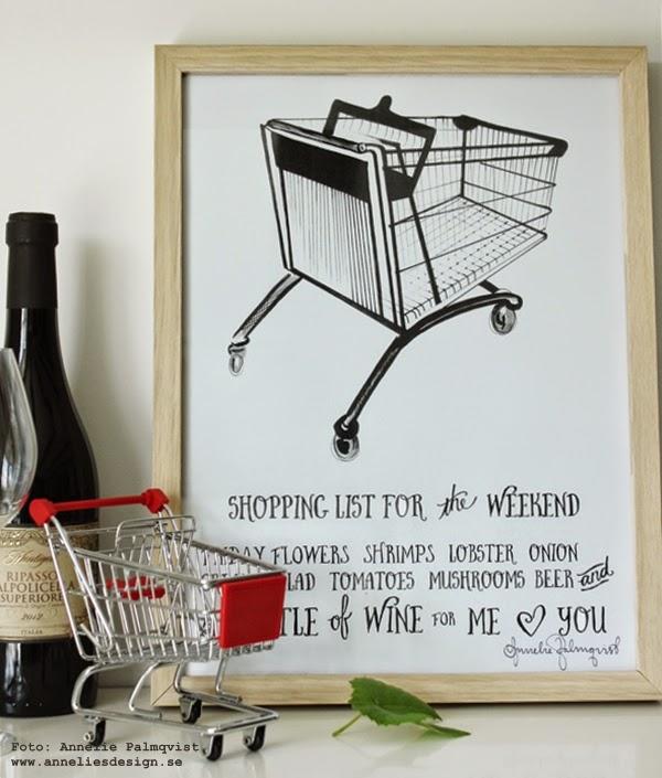 poster, kundvagn, kundvagnar, shoppinglista, shopping, tavla, tavlor i svart och vitt, svartvit, svartvita, tryck, print, prints, vin, inköpslista, weekend, köket, konsttryck för köket,