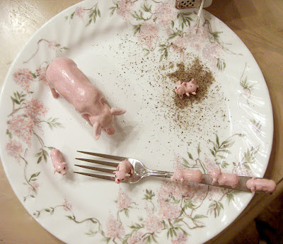 little pink pigs on plate