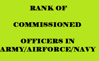 RANK OF COMMISSIONED OFFICERS IN ARMY,AIRFORCE,NAVY